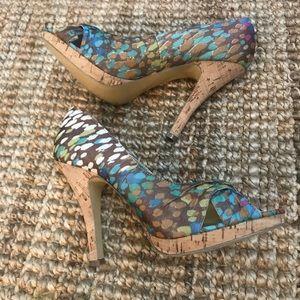 Steve Madden Heels Women's Peep Toe Shoes 8 EUC